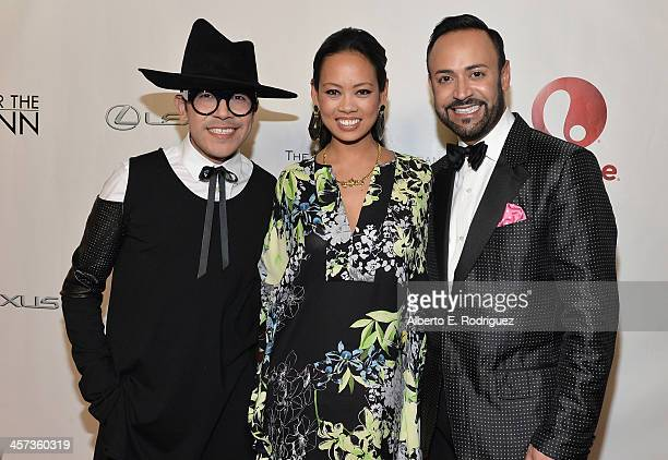 Designers Mondo Guerra Anya AyoungChee and Nick Verreos attend the 'Under The Gunn' Finale Fashion Show at Los Angeles Theatre on December 16 2013 in...