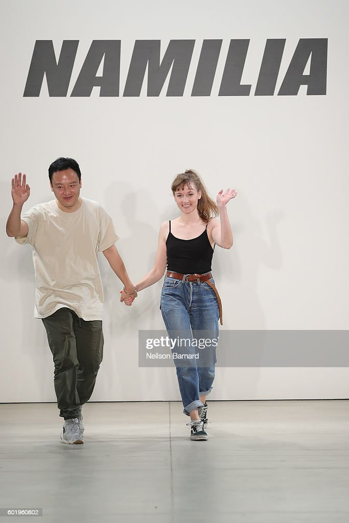 Designers Nan Li (L) and Emilia Pfohll walks the runway at Namilia fashion show during New York Fashion Week: The Shows September 2016 at The Gallery, Skylight at Clarkson Sq on September 10, 2016 in New York City.
