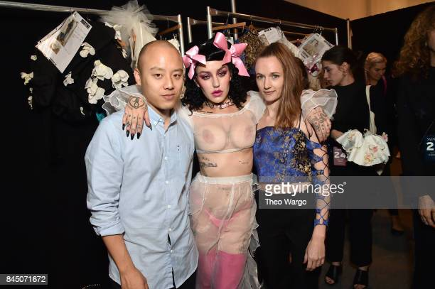 Designers Nan Li Emilia Pfohl and Brooke Candy prepare backstage for the Namilia fashion show during New York Fashion Week The Shows at Gallery 3...