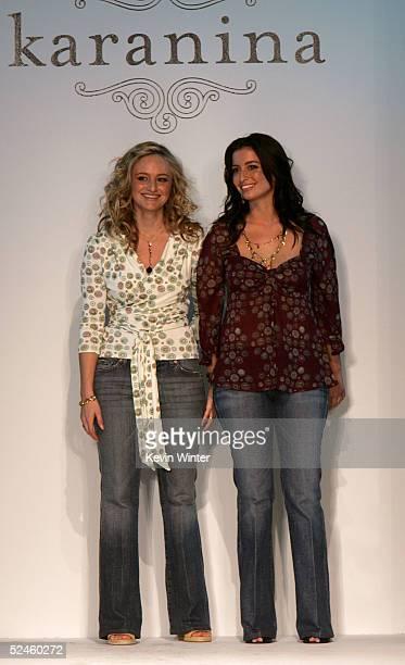 Designers Nina Firestone and Kara Smith walk the runway at the Karanina Fall 2005 show during MercedesBenz Fashion Week at Smashbox Studios March 20...