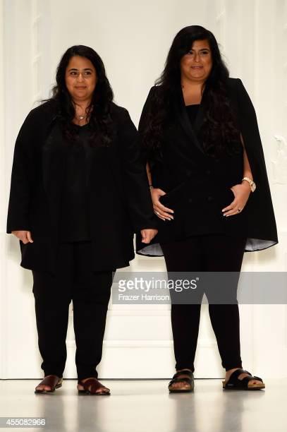 Designers Noor Rashid Al Khalifa and Haya Mohammed Al Khalifa walk the runway at the Noon By Noor fashion show during MercedesBenz Fashion Week...