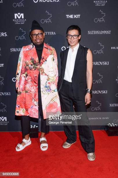 Designers of Greta Constantine Kirk Pickersgill and Stephen Wong arrive at the 2018 Canadian Arts And Fashion Awards Red Carpet held at the Fairmont...