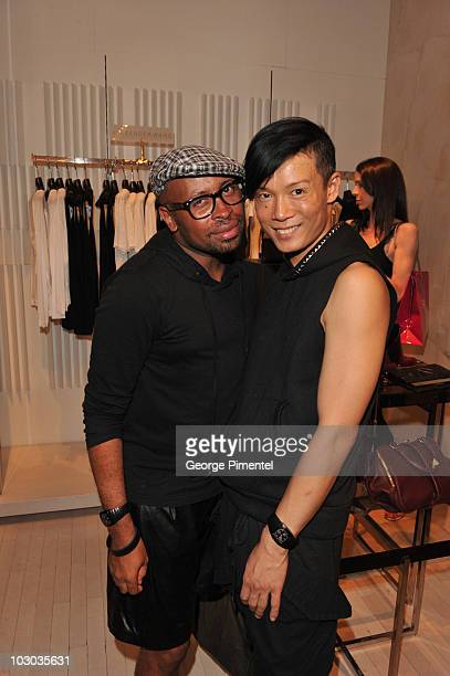 Designers of Greta Constantine Kirk Pickersgill and Stephen Wong attend the appearance of designer Alexander Wang at Holt Renfrew on Bloor Street on...