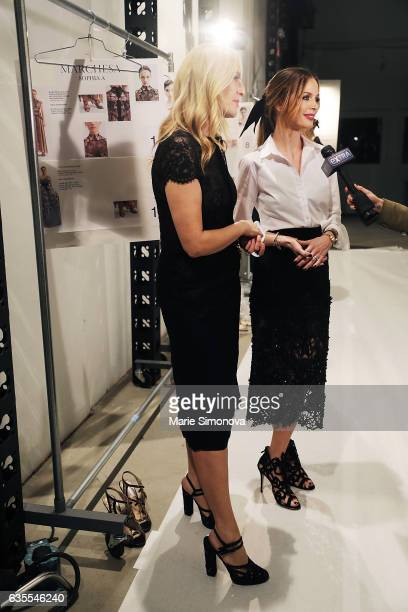 Designers of Marchesa brand Keren Craig and Georgina Chapman are seen at the backstage of the Marchesa runway show during New York Fashion Week at...