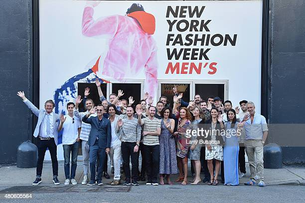 Designers of Men's Fashion Week attends the New York Fashion Week Men's S/S 2016 Opening Press Conference at Skylight Clarkson Sq on July 13 2015 in...