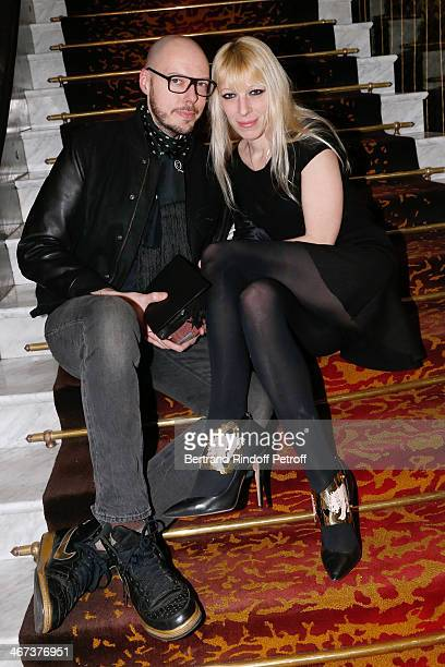 Designers of 'Nuit N12' Frederic Baldo and Ludivine Mochinet attend the Arthur Aubert Exhibition private view Held at Le Fouquet's Barriere Hotel on...