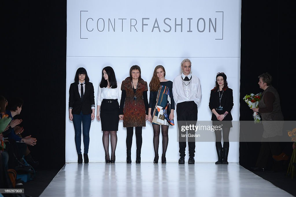 Designers on the runway for the Contrfashion show during Mercedes-Benz Fashion Week Russia Fall/Winter 2013/2014 at Manege on April 2, 2013 in Moscow, Russia.