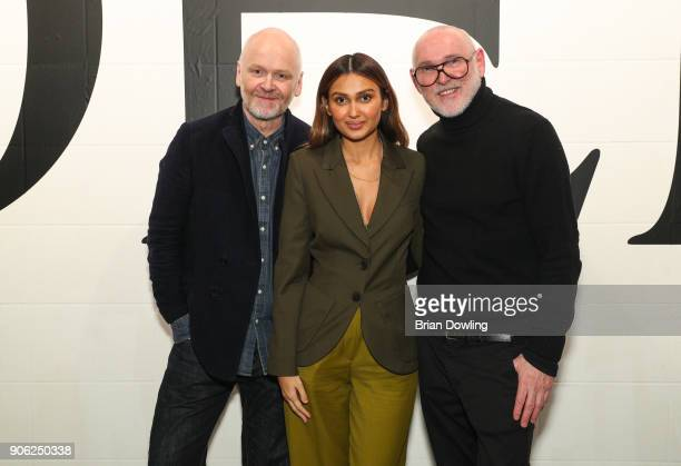 ODEEH designers Otto Droegsler and Joerg Ehrlich with Wana Limar at Odeeh Defile during 'Der Berliner Salon' AW 18/19 on January 17 2018 in Berlin...