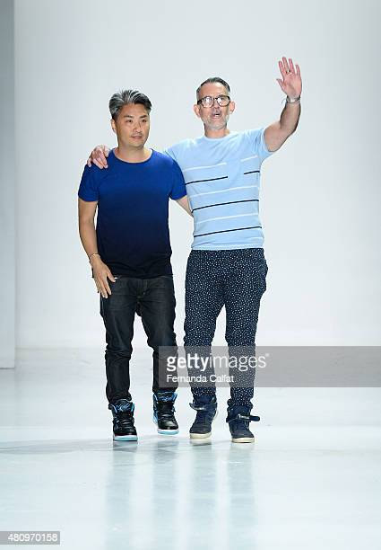Designers Parke Lutter and Ronen Jehezkel walk the runway at the Parke & Ronen fashion show during New York Fashion Week: Men's S/S 2016 at Skylight...
