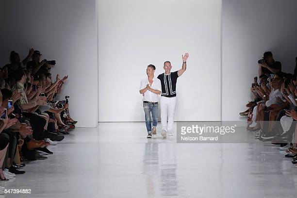 Designers Parke Lutter and Ronen Jehezkel walk the runway during the Parke Ronen Spring 2017 show at Skylight Clarkson Sq on July 14 2016 in New York...