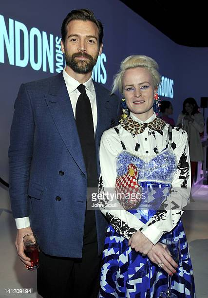 Designers Patrick Grant and Louise Grey attend the British Fashion Council's LONDON Show ROOMS LA opening cocktail party at Smashbox Studios on March...