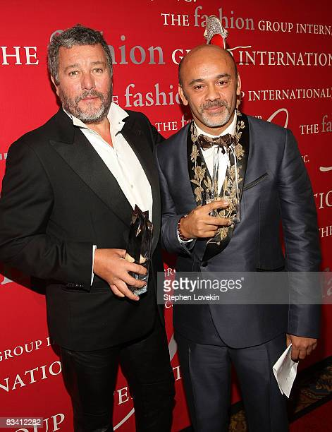 Designers Philippe Starck and Christian Louboutin attend the 25th annual Night of Stars hosted by Fashion Group International at Cipriani Wall Street...