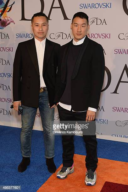 Designers Phillip Lim and Richard Chai attend the 2014 CFDA fashion awards at Alice Tully Hall, Lincoln Center on June 2, 2014 in New York City.