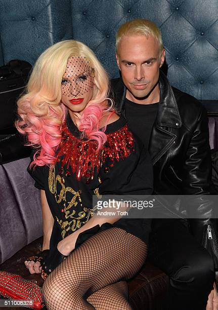 Designers Phillipe Blond and David Blond attend The Blonds fashion week party at TAO Downtown on February 17 2016 in New York City