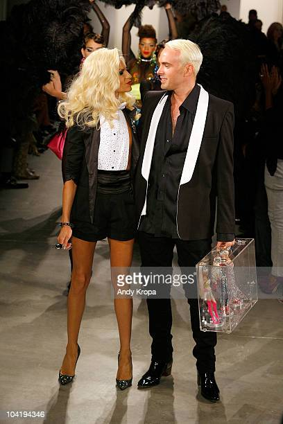 Designers Phillipe Blond and David Blond walk the runway at The Blonds Spring 2011 fashion show during MercedesBenz Fashion Week at Milk Studios on...