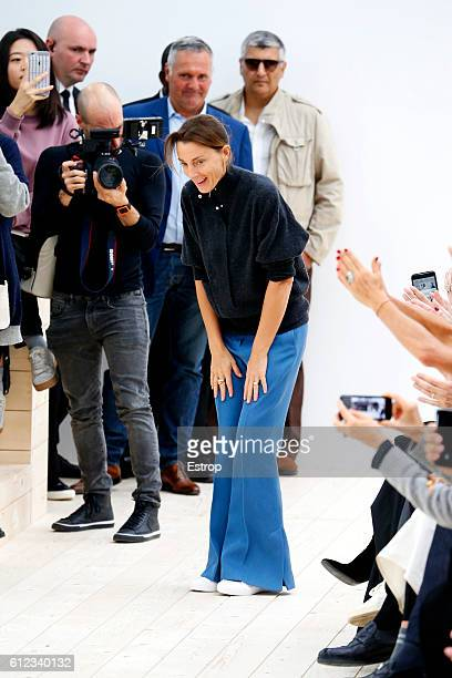 Designers Phoebe Philo walks the runway during the Celine designed by Phoebe Philo show as part of the Paris Fashion Week Womenswear Spring/Summer...