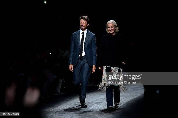 Designers Pier Paolo Piccioli and Maria Grazia Chiuri walk the runway during the Valentino show as part of the Paris Fashion Week Womenswear...