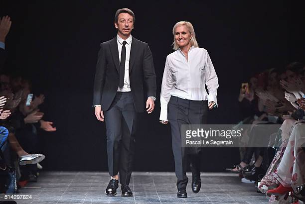 Designers Pierpaolo Piccioli and Maria Grazia Chiuri are seen on the runway during the Valentino show as part of the Paris Fashion Week Womenswear...