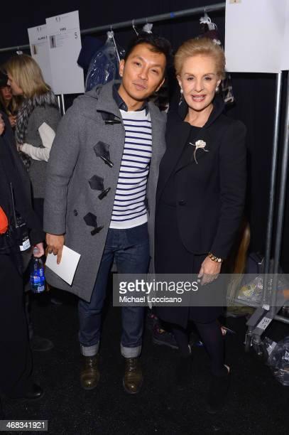 Designers Prabal Gurung and Carolina Herrera backstage at the Carolina Herrera fashion show during MercedesBenz Fashion Week Fall 2014 at The Theatre...