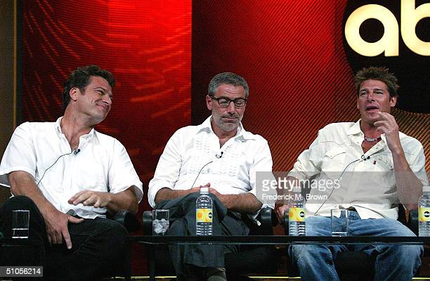 """Designers Preston Sharp, Paul DiMeo and Carpenter Ty Pennington of """"Extreme Makeover: Home Edition"""" speak with the press at the ABC Summer TCA Press..."""