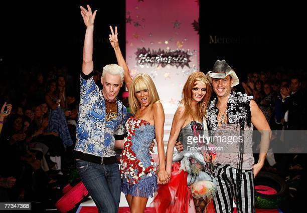 Designers Richie Rich adult film actress Jenna Jameson a model and Traver Rains walk the runway at the Heatherette Spring 2008 fashion show during...