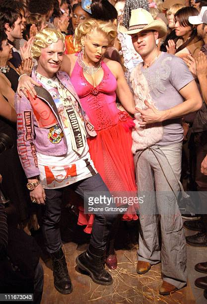 Designers Richie Rich and Traver Rains of Heatherette with Anna Nicole Smith wearing Heatherette Fall 2004