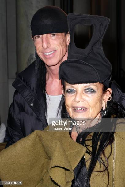Designers Rick Owens and Michele Lamy attend the Raf Simons Menswear Fall/Winter 20192020 show as part of Paris Fashion Week on January 16 2019 in...