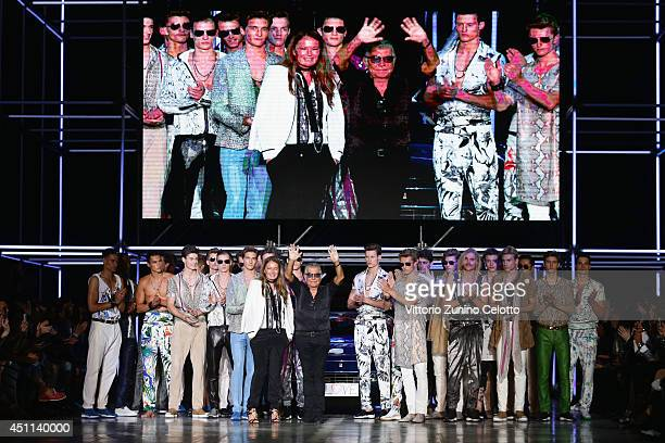 Designers Roberto Cavalli acknowledges the applause of the public after the Roberto Cavalli show as part of Milan Fashion Week Menswear Spring/Summer...
