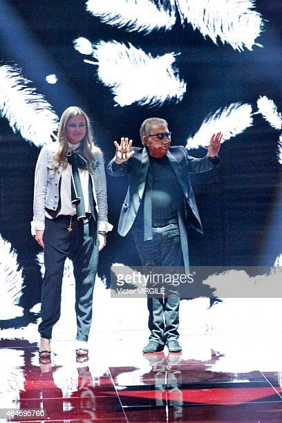 Designers Roberto Cavalli and Eva Cavalli walk the runway at the Just Cavalli show during the Milan Fashion Week Autumn/Winter 2015 on February 26...