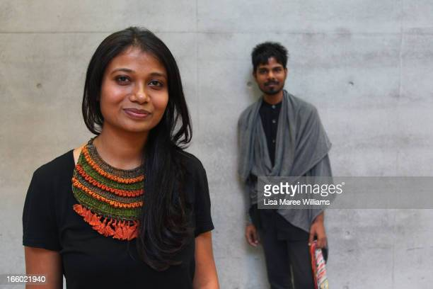 Designers Roopa Pemmaraju and Sudhir Swain pose backstage ahead of the Roopa Pemmaraju show during MercedesBenz Fashion Week Australia Spring/Summer...