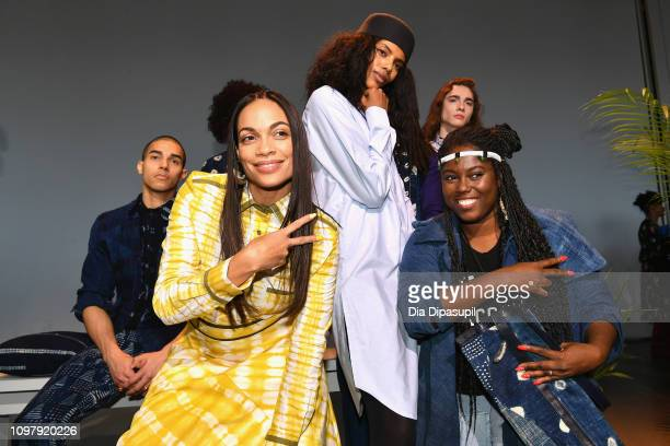 Designers Rosario Dawson and Abrima Erwiah pose with a model for the Studio 189 presentation during New York Fashion Week The Shows at Gallery II at...