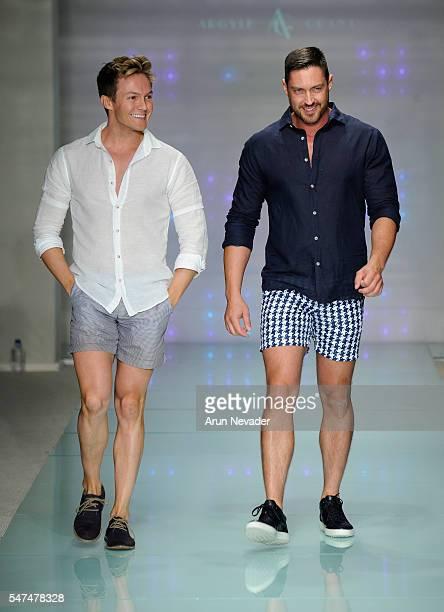Designers Ryan Morgan and Dean McCarthy walk the runway at Argyle Grant Runway Show during Art Hearts Fashion Miami Swim Week Presented by AIDS...