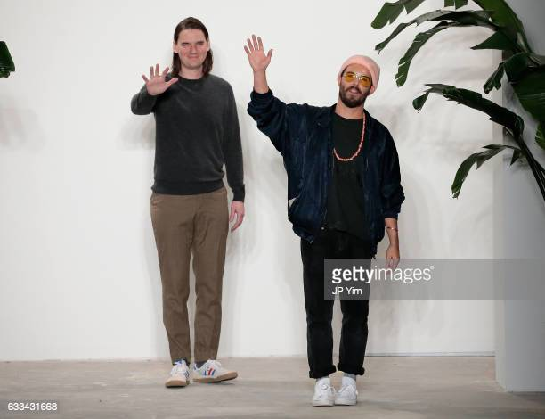 Designers Shane Fonne and Brandon Capps attend the Palmiers Du Mal - Runway at Skylight Clarkson North on February 1, 2017 in New York City.