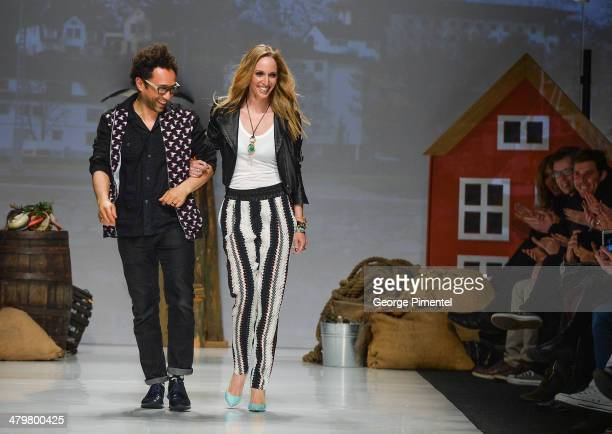 Designers Shawn Hewson and Ruth Promislow present Bustle fall 2014 collection during World MasterCard Fashion Week Fall 2014 at David Pecaut Square...