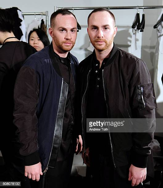 Designers Shimon Ovadia and Ariel Ovadia are seen backstage during Ovadia Sons New York Fashion Week Men's Fall/Winter 2016 at Skylight at Clarkson...