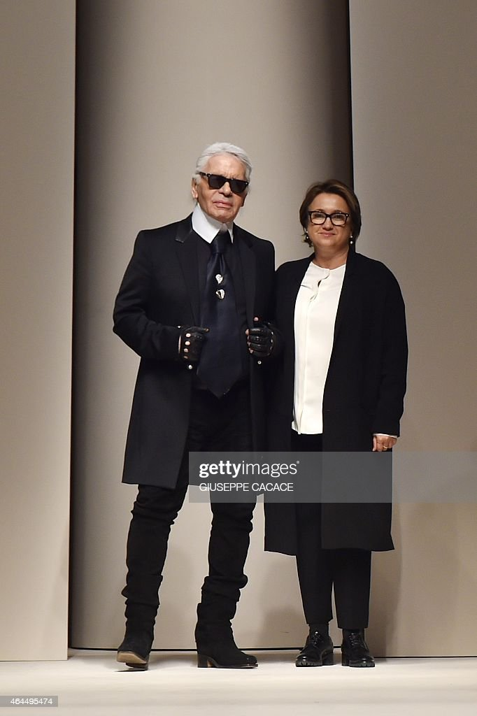 Designers Silvia Venturini Fendi And Karl Lagerfeld Greet The News Photo Getty Images