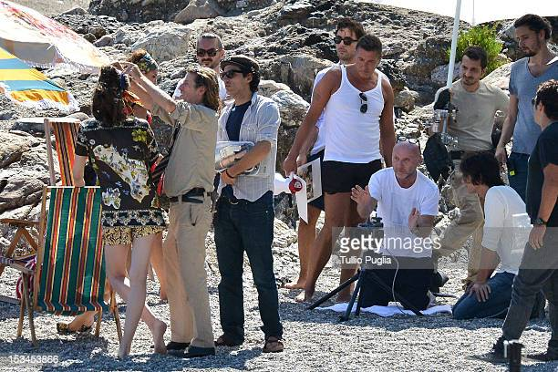 Designers Stefano Gabbana and Domenico Dolce are seen on the set of Dolce Gabbana new photography campaign on October 4 2012 in Taormina Italy