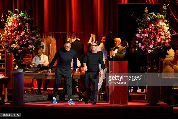Designers Stefano Gabbana and Domenico Dolce walk the runway at the Dolce Gabbana fashion show during Milan Menswear Fashion Week Autumn/Winter...