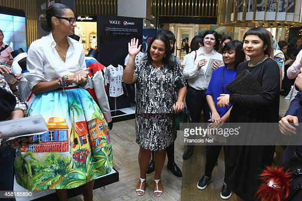 "Designers Stella Jean, Lulwa Al Amin and winner of the ""The Pulse of new Talent"" project by Pepsi and Vogue Italia award Masha Reva attend a Media..."