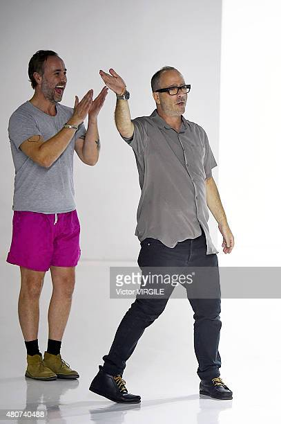 Designers Steven Cox and Daniel Silver walk the runway at the Duckie Brown presentation during New York Fashion Week: Men's S/S 2016 at Skylight...