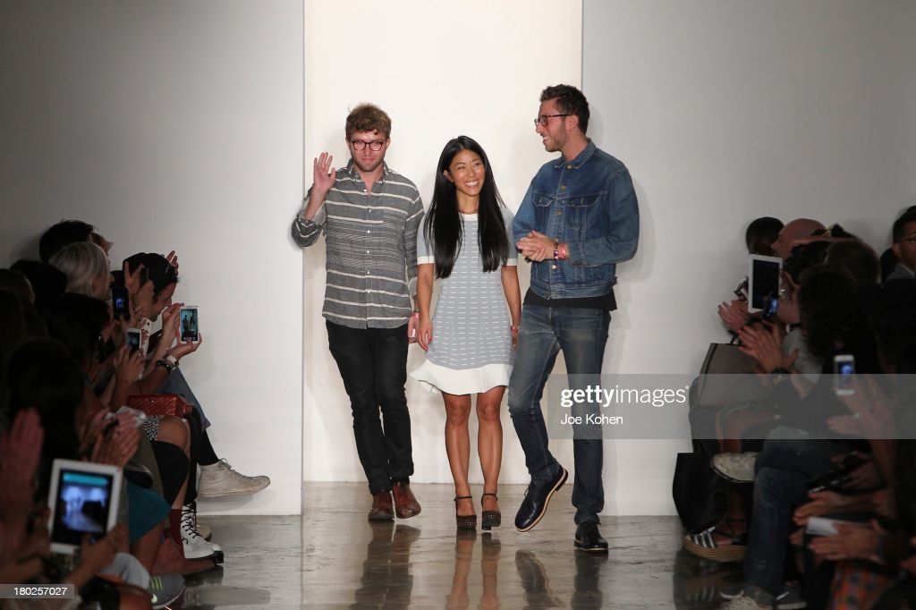 Designers Timo Weiland, Donna Kang and Alan Eckstein walk the runway during Timo Weiland Women's fashion show at Milk Studios on September 10, 2013 in New York City.