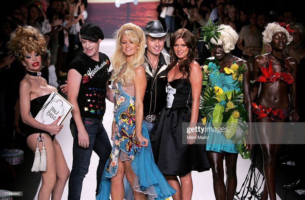 Designers Traver Rains, Richie Rich, Amanda Lepore, Nicky Hilton and Paris Hilton walk the runway at the Heatherette Spring 2007 fashion show during Olympus Fashion Week September 12, 2006 in New York City.