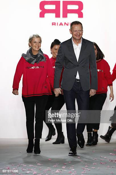 Designers Ulrich Schulte and Isi Degel walk the runway at their Riani show during the MercedesBenz Fashion Week Berlin A/W 2017 at Kaufhaus Jandorf...