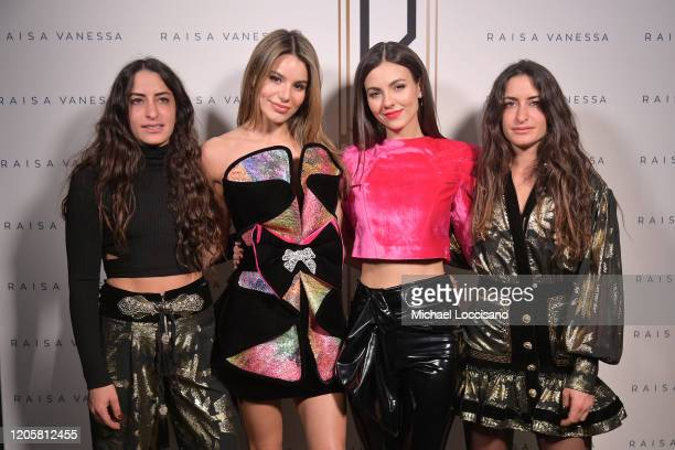 Designers Vanessa Sason and Raisa Sason pose with Madison Reed and Victoria Justice backstage for Raisavanessa during New York Fashion Week The Shows...