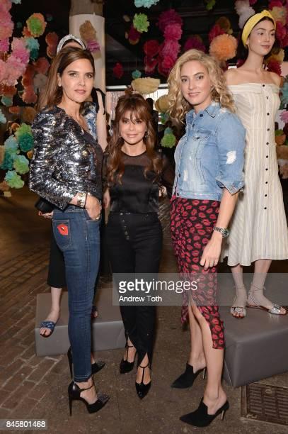 Designers Veronica Miele Beard and Veronica Swanson Beard pose with Paula Abdul at the Veronica Beard Spring 2018 Presentation on September 11 2017...