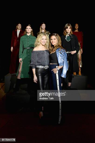 Designers Veronica Swanson Beard and Veronica Miele Beard pose with models at the runway for the Veronica Beard Fall 2018 presentation at Highline...