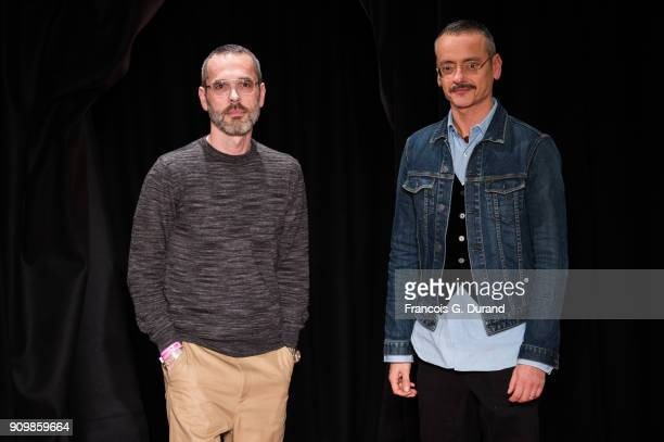 Designers Viktor Horsting and Rolf Snoeren walk the runway during the Viktor Rolf Spring Summer 2018 show as part of Paris Fashion Week on January 24...