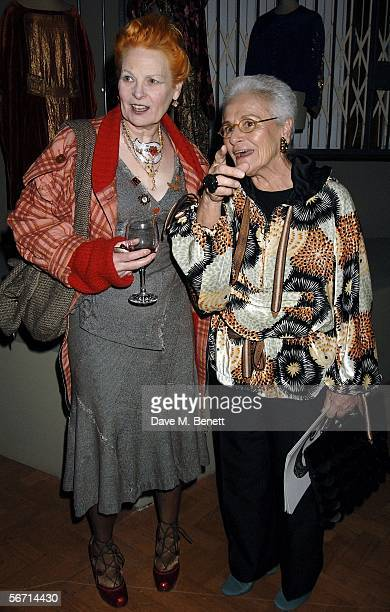 Designers Vivienne Westwood and Rosita Missoni attend the private view for Anna Piaggi's new exhibition 'Fashionology' at the Victoria Albert Museum...