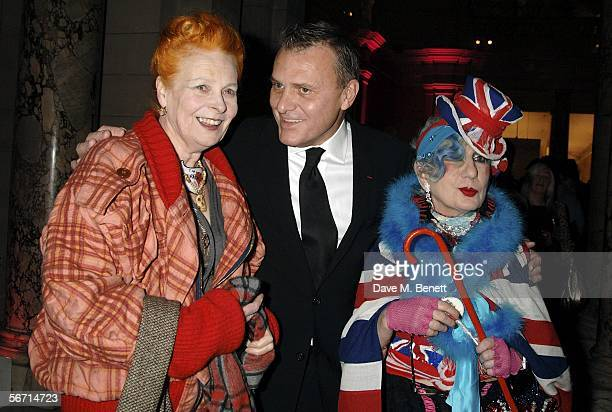 Designers Vivienne Westwood JeanCharles de Castelbajac and Anna Piaggi attend the private view for Piaggi's new exhibition Fashionology at the...
