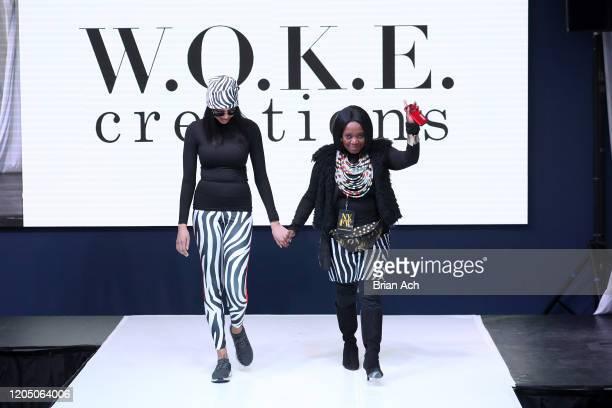 Designers walk the runway wearing WOKE Creations during NYFW Powered By hiTechMODA on February 08, 2020 in New York City.